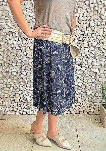 Saia Shorts Midi Azul Marinho e Off White Crepe Adulto