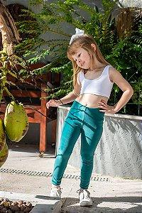 Legging Infantil Veludo Verde