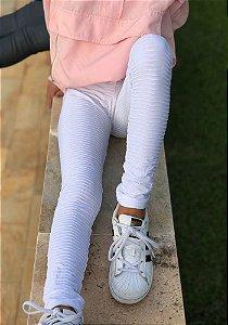 Legging Infantil Branco Tecido Trabalhado