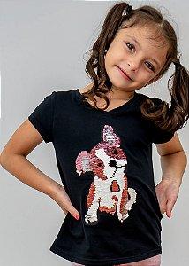 T-shirt Infantil Preta Dog Reversível