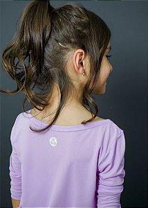 T-shirt Infantil Crepe Lilás Manga Longa