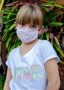 Máscara Infantil Estampa Florida Rosa