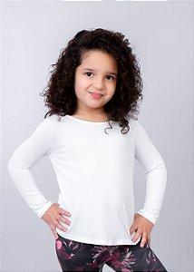 T-shirt Infantil Crepe Branca Manga Longa
