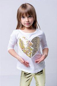 Manga 3/4 Infantil Com Bordado Coração Dourado