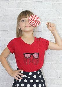 T-shirt em Visco Com Óculos Red
