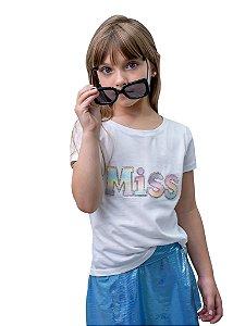 T-shirt Decote Canoa Com Aplicação Miss