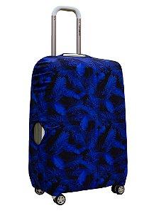 Capa Protetora Para Mala Folhagem Azul Marinho