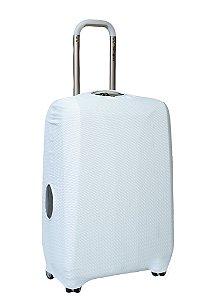 Capa Protetora Para Mala Branca com Textura no Tecido de Pequenas Linhas