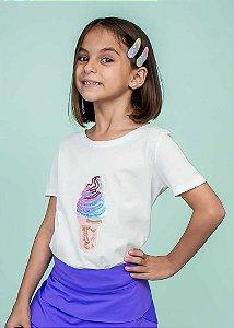 T-shirt Decote Canoa com Aplicação Sorvete