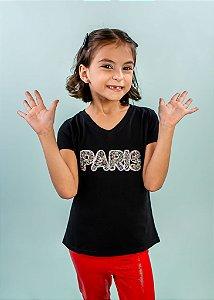 T-Shirt Infantil Preta Paris