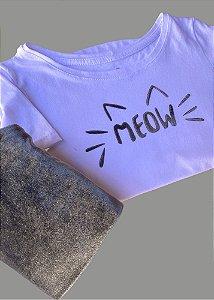 T-shirt Infantil Meow Veludo Oliva
