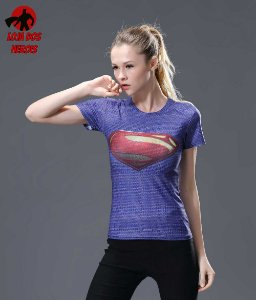 Camisa Feminina Superman Clássica Azul