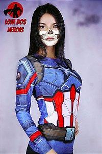 Camisa Feminina Capitão América - Manga Longa