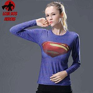 Camisa Feminina Superman Clássico Azul - Manga Longa