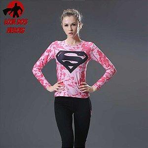 Camisa Feminina Superman Rosa - Manga Longa
