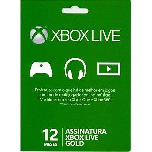 Cartão Microsoft Xbox Live Gold - 12 meses