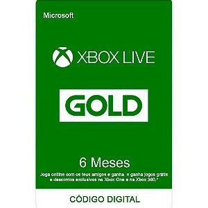 Cartão Microsoft Xbox Live Gold 6 meses