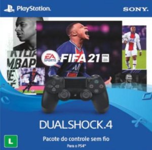 Controle sem fio DualShock 4 Jet Black + FIFA 21