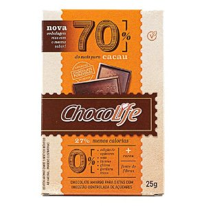 Chocolate Zero Açúcar 70% Cacau - Chocolife
