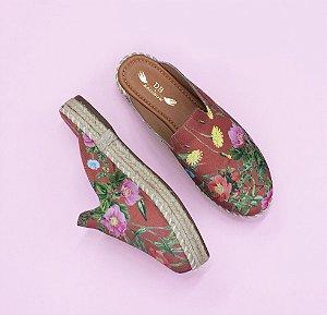 Flat corda floral marrom