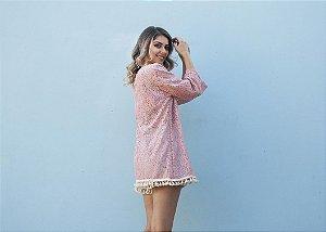 Kimono renda rosa com detalhe franjas