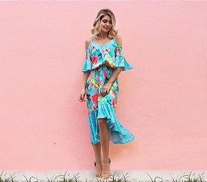 Vestido midi estampa floral azul