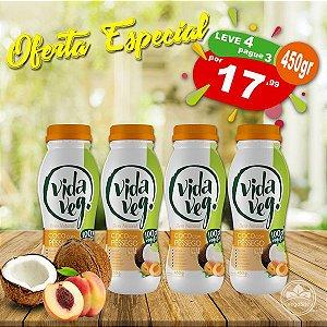 PROMO Leve 4 Pague 3 Iogurte Vegano de Coco com Pêssego Vida Veg 450g ❄