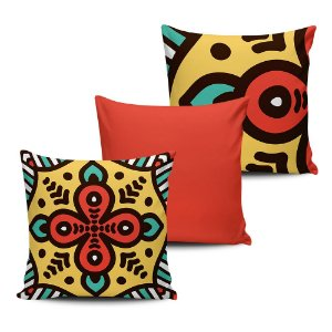 Conjunto 3 Almofadas Decorativas 45x45 com enchimento Mandala - ALMAND005