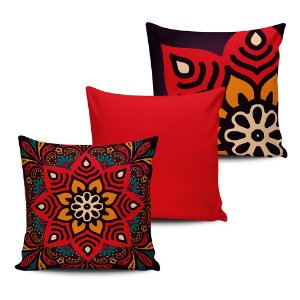 Conjunto 3 Almofadas Decorativas 45x45 com enchimento Mandala - ALMAND006