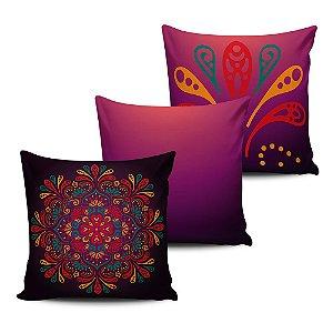 Conjunto 3 Almofadas Decorativas 45x45 com enchimento Mandala - ALMAND012