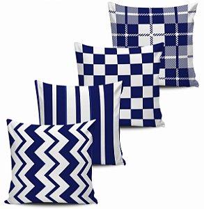 Conjunto 4 Almofadas Decorativas Geometricas Marinho 45x45 com enchimento