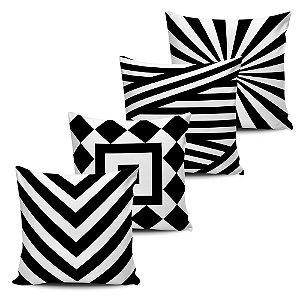 Conjunto 4 Almofadas Decorativas Geometricas Black White  45x45 com enchimento