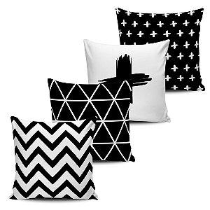 Conjunto 4 Almofadas Decorativas 45x45cm com enchimento Geometricas Black White