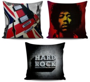Kit 3 Almofadas Musical Rock Londres 45x45cm