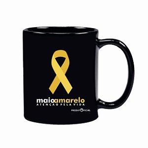 CANECA PORCELANA (RETA) - 325 ML ***Laço Amarelo***