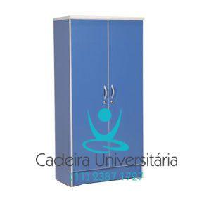 Armário Alto Escritorio 2 Portas Azul