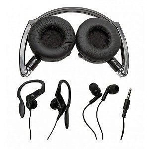 Kit com 3 modelos de fones de ouvido: Headphone, auricular e earphone - V12134-RAVEN - Vivitar