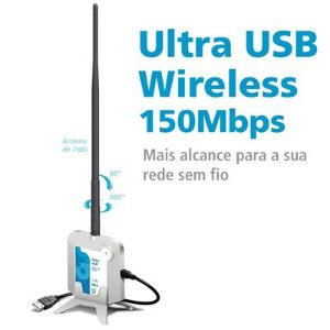 Adaptador Wireless Ultra USB 150Mbps com antena 7dbi 500mw - Gts Network