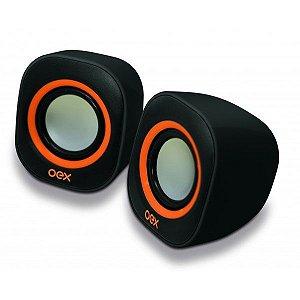 Caixa de Som Speaker Oex Round USB, P2, Adicional 6W SK-100 Preto/Laranja