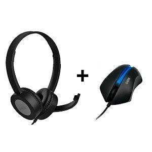 Kit Headset NewLink Digital 5.1 Com Microfone Advanced + Mouse Óptico 1000dpi MS-302 Azul - OEX