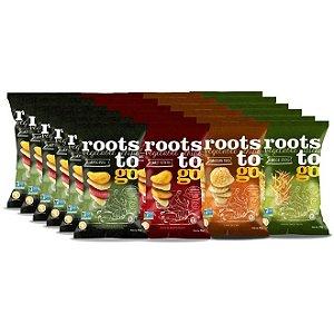 Kit Chips Original Raízes, Mix de Batata Doce, Chips de Cará e Mix de Batata Doce Palha - 24 Unidades - Roots To Go