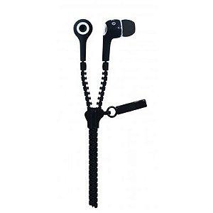 Fone de Ouvido Oex Intra-Auricular Ziper Stéreo Ideal para Smartphones com Microfone Preto FN-400