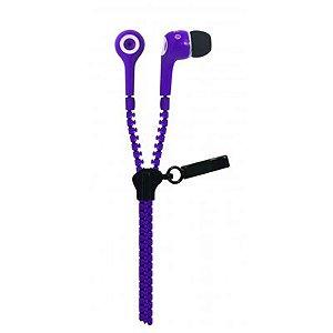 Fone de Ouvido Oex Intra-Auricular Ziper Stéreo Ideal para Smartphones com Microfone Roxo FN-400