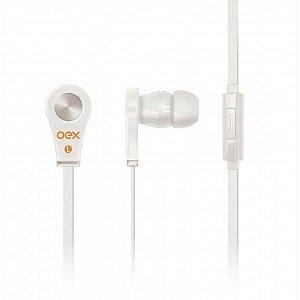 Fone de Ouvido OEX Intra-Auricular Tune Ideal para Smartphones,P2,c/ Microfone Branco FN-402