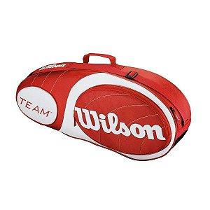 Raqueteira Wilson Team 3 Pack Vermelha e Branca