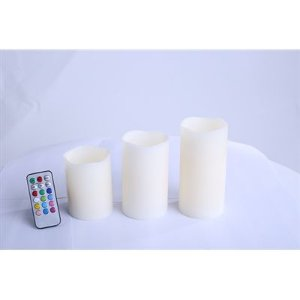 Kit Vela Decorativa Led com 3 Velas Multi Colorida Com Controle Remoto RM-VL0009 - Relaxmedic