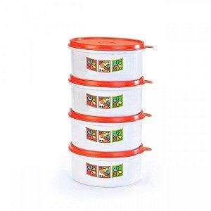 Kit Com 4 Potes Médios de 750 ml Mariplast 205