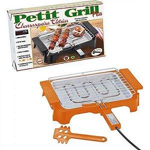 Churrasqueira Elétrica Anurb Petit Grill Plus c/ Grelha Removível e Espátula p/ Limpeza Laranja 220v