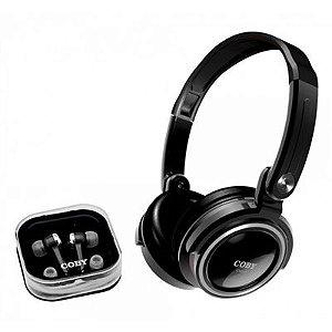 Kit com 2 fones de ouvido: headphone dobrável e earphone com encaixe de silicone - CV21 - Coby
