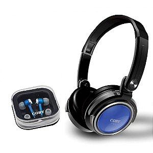 Kit com 2 fones de ouvido: headphone dobrável e earphone com encaixe de silicone azul - CV215 - Coby